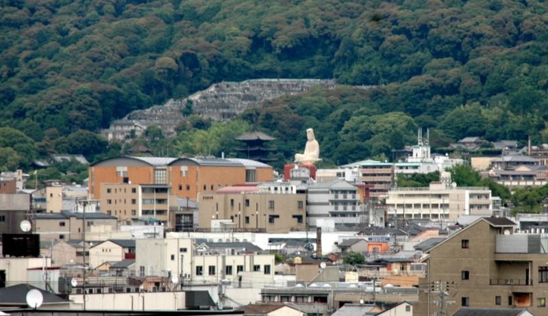 左手前は八坂の塔、奥の山裾には東大谷の墓地も見えます