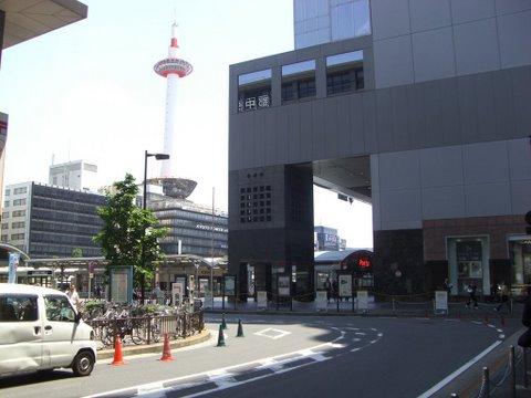 正面に京都タワー、右手は伊勢丹